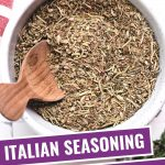 ITALIAN SEASONING SUBSTITUTE IN A BOWL WITH A WOODEN SPOON.