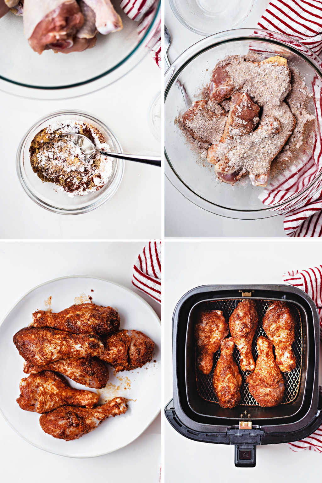 process steps for preparing air fryer chicken legs.