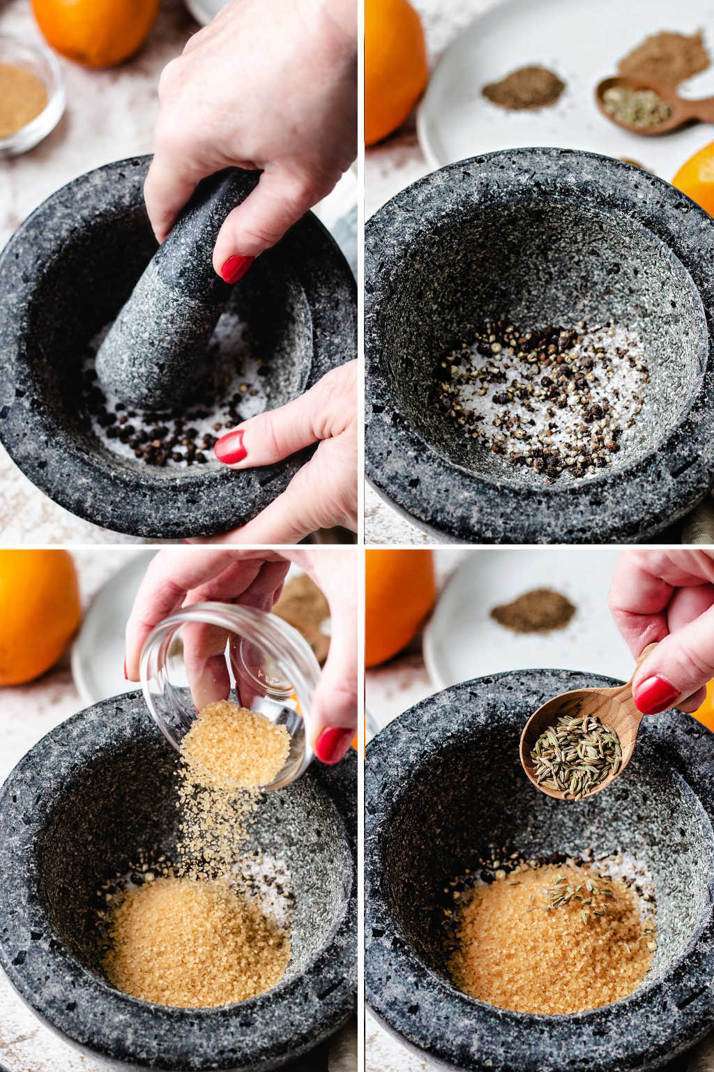 process steps for crushing peppercorns and sea salt in a mortar with a pestle; plus adding turbinado sugar and fennel seeds.