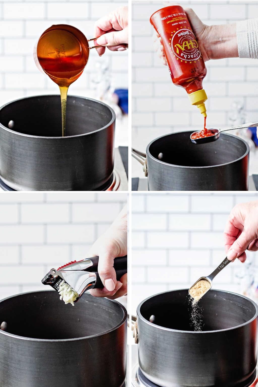 process steps for making honey sriracha saucee.