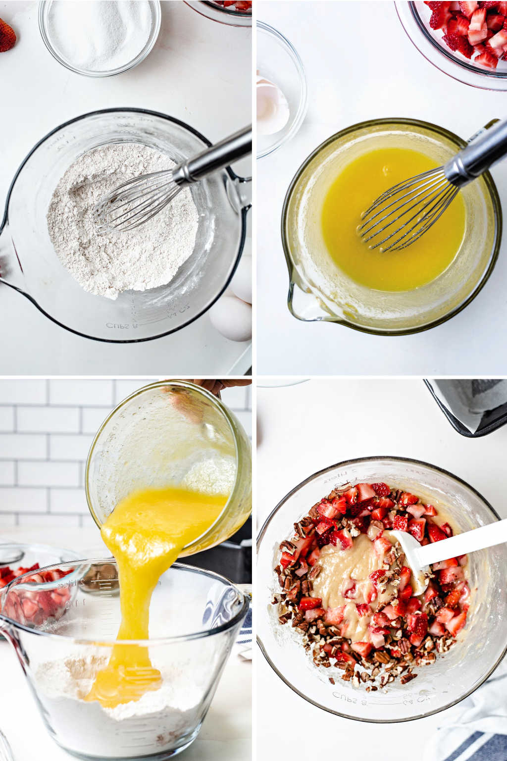 process steps for making batter for strawberry bread.