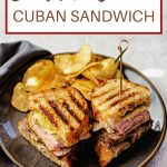 Sandwich Cubano on a grey plate with potato chips.