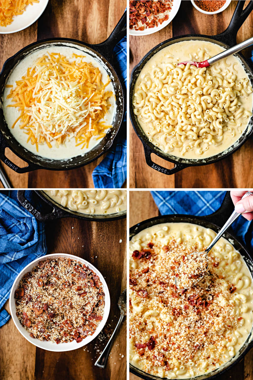 process steps for making smoked mac and cheese: 1) make cheese sauce 2) add cooked macaroni 3) make bacon crumb topping 4) spoon toping on top before cooking.