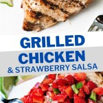 GRILLED CHICKEN BREAST WITH STRAWBERRY SALSA ON A WHITE PLATE.