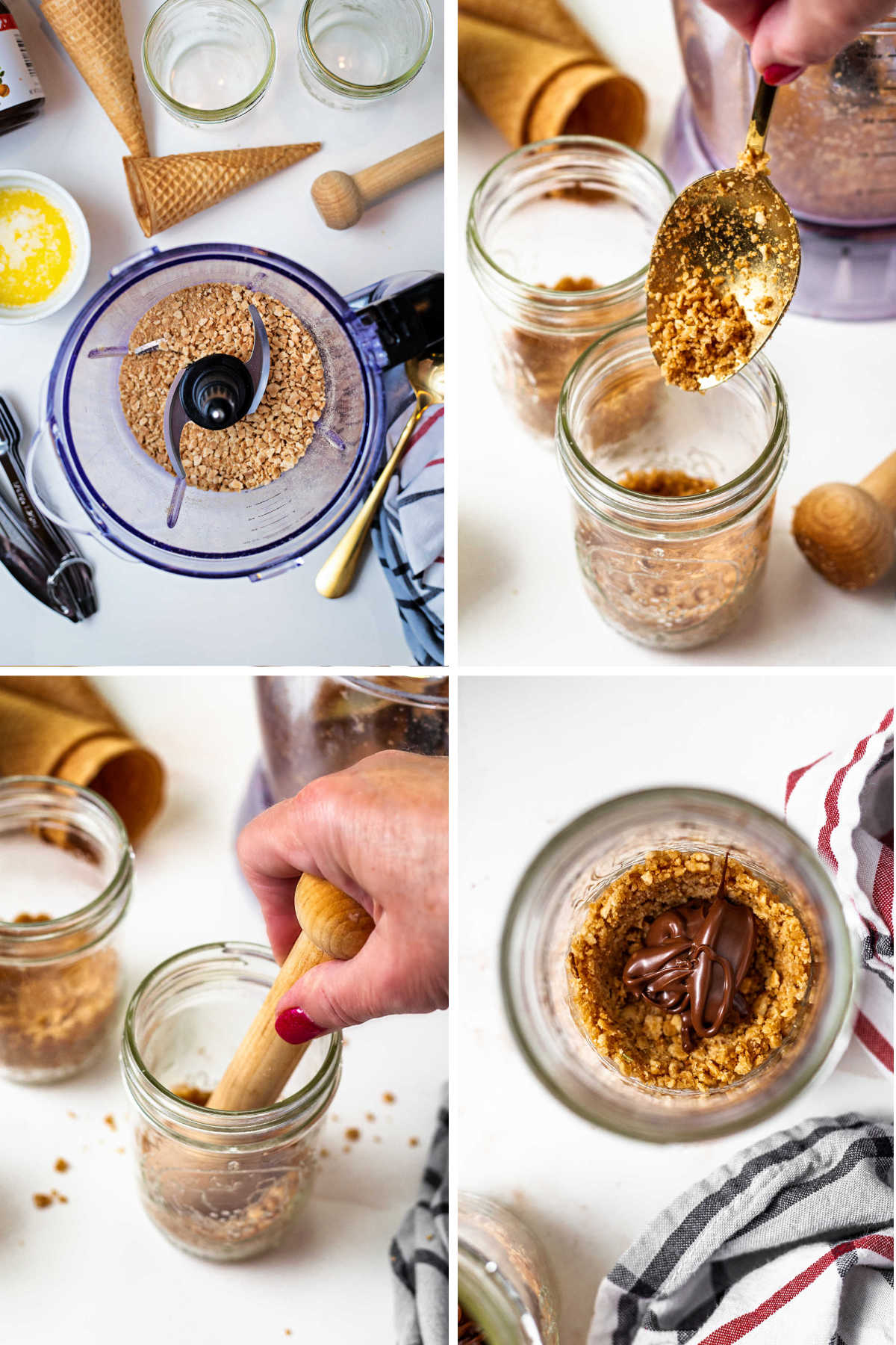 process steps for making the crust for ice cream pie in a jar: 1) process sugar cones into crumbs 2)spoon into jars 3) press into the bottom of the jar 4)add a spoonful of hazelnut spread.