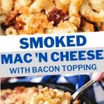 CLOSE UP PHOTO OF SMOKED MAC AND CHEESE.