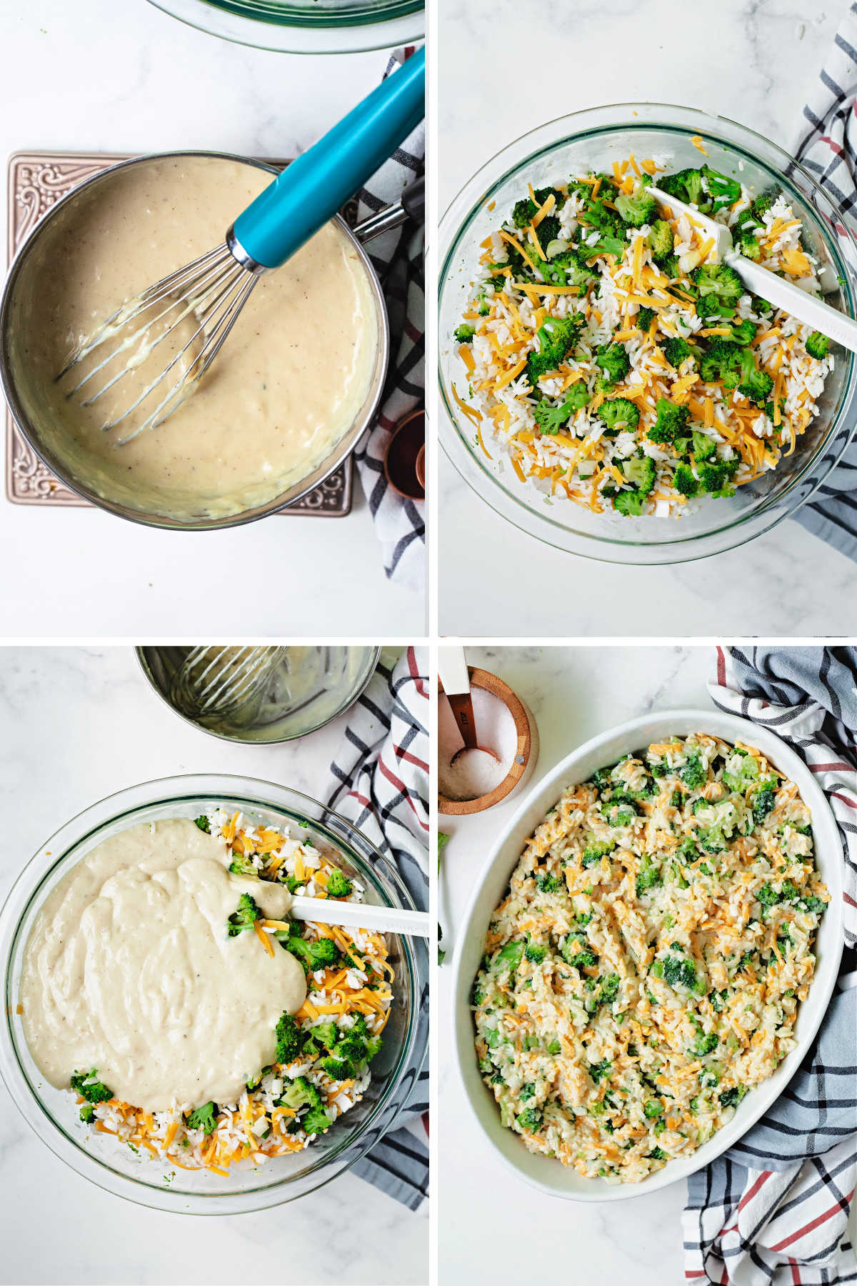 process steps for making a broccoli rice casserole: 1) make the cream sauce 2) mix together broccoli, rice, cheese 3) mix all ingredients 4) place in casserole dish