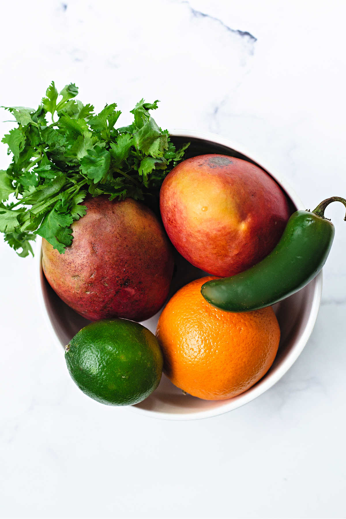 a bowl containing 2 mangos, an orange, a jalapeno pepper, and a bunch of cilantro on a table.