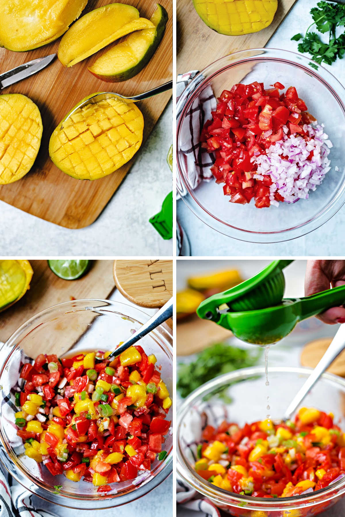 process steps for making mango tomato salsa: chop mango, dice tomatoes and onion, combine with garlic and peppers, add lime juice.