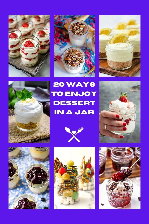 a photo collage of mason jar desserts: strawberry icebox cake, lemon icebox pie, chocolate cherry dump cake.