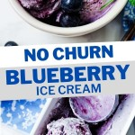 no churn blueberry ice cream in a white bowl garnished with mint sprig on a table with a blue napkin and blueberries scattered around.