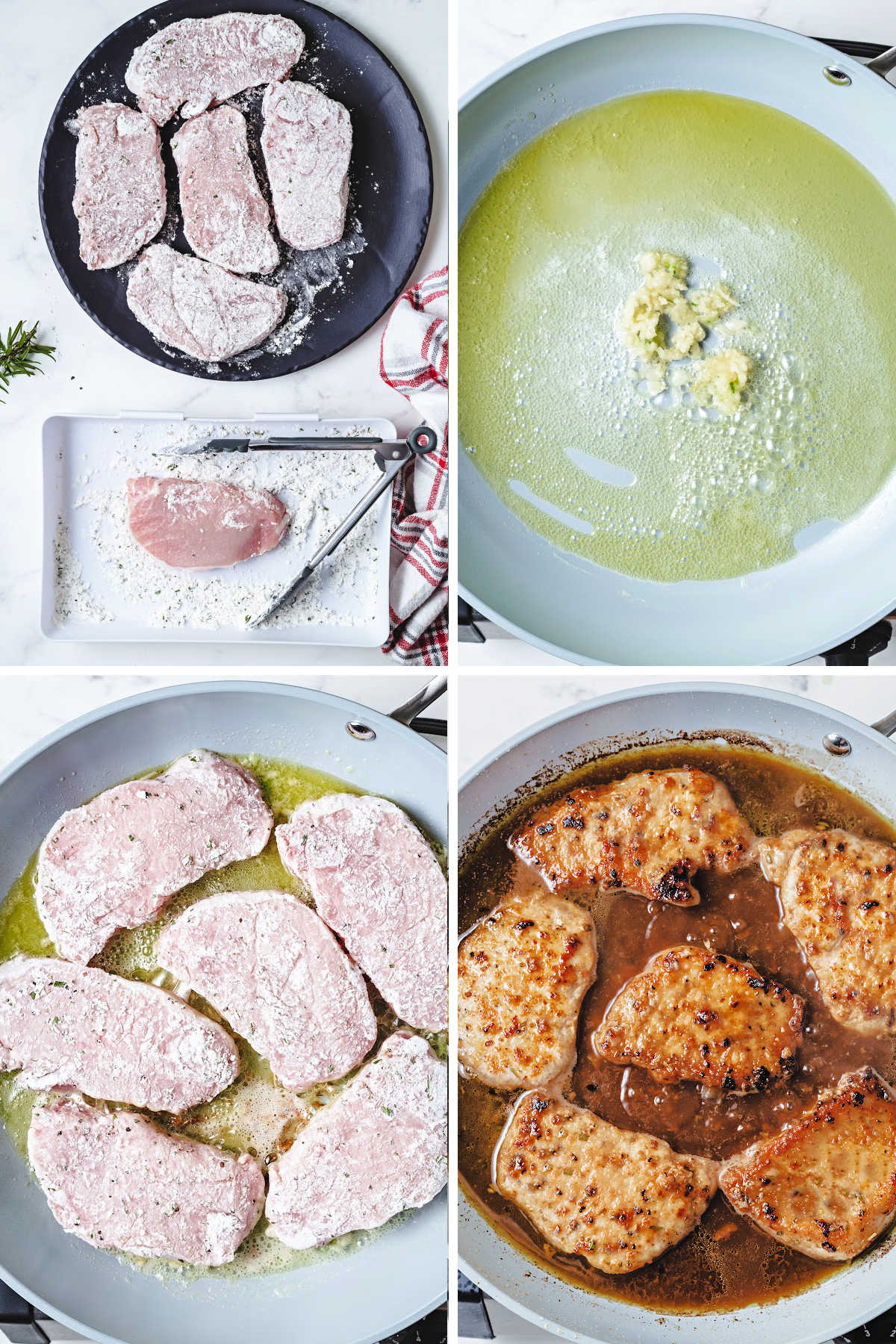 process steps for preparing balsamic pork chops: dredge chops in flour mixture; saute garlic in butter and olive oil; pay fry pork chops; simmer pork chops in balsamic sauce.