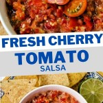 a bowl of cherry tomato salsa on a decorative plate with tortilla chips scattered around.