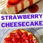a slice of strawberry cheesecake on a china plate with whipped cream and a strawberry garnish.