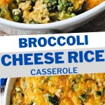 SOUTHERN BROCCOLI CHEESE RICE CASSEROLE IN A WHITE DISH.