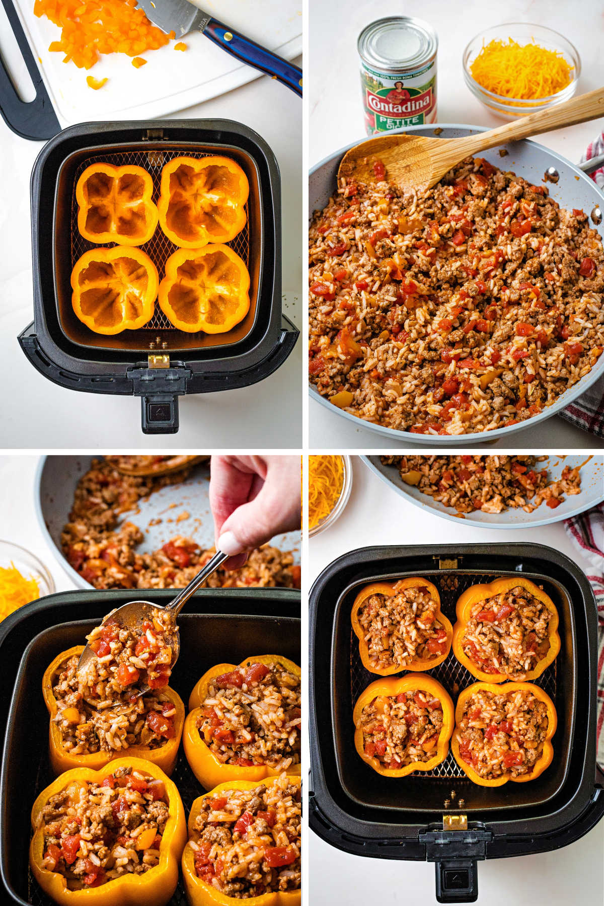process steps for making air fryer stuffed peppers; pre-cook peppers in air fryer, saute ground beef filling; fill peppers with beef mixture.