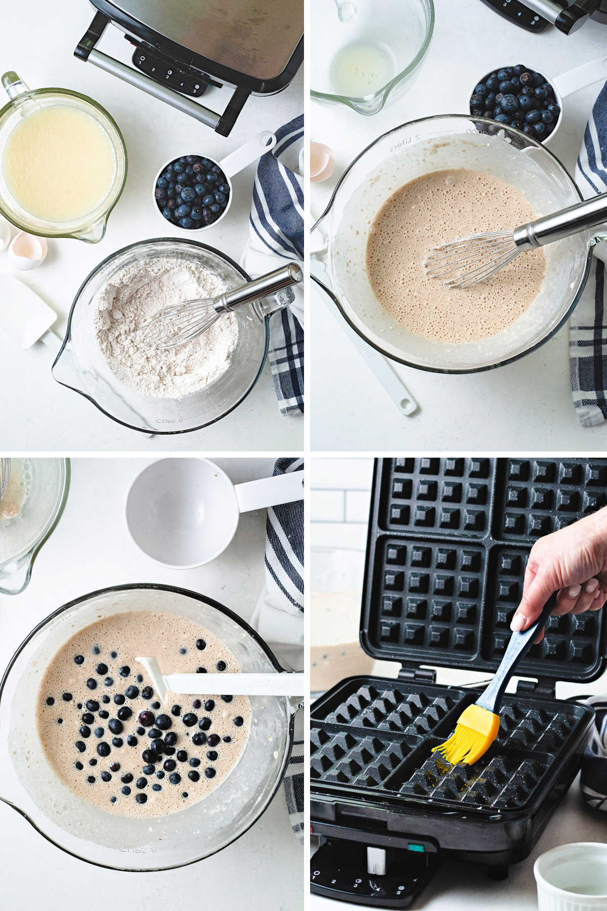 process steps for making blueberry waffles: whisk dry and wet ingredients separately; combine wet and dry ingredients; fold in fresh blueberries; brush waffle iron with oil.