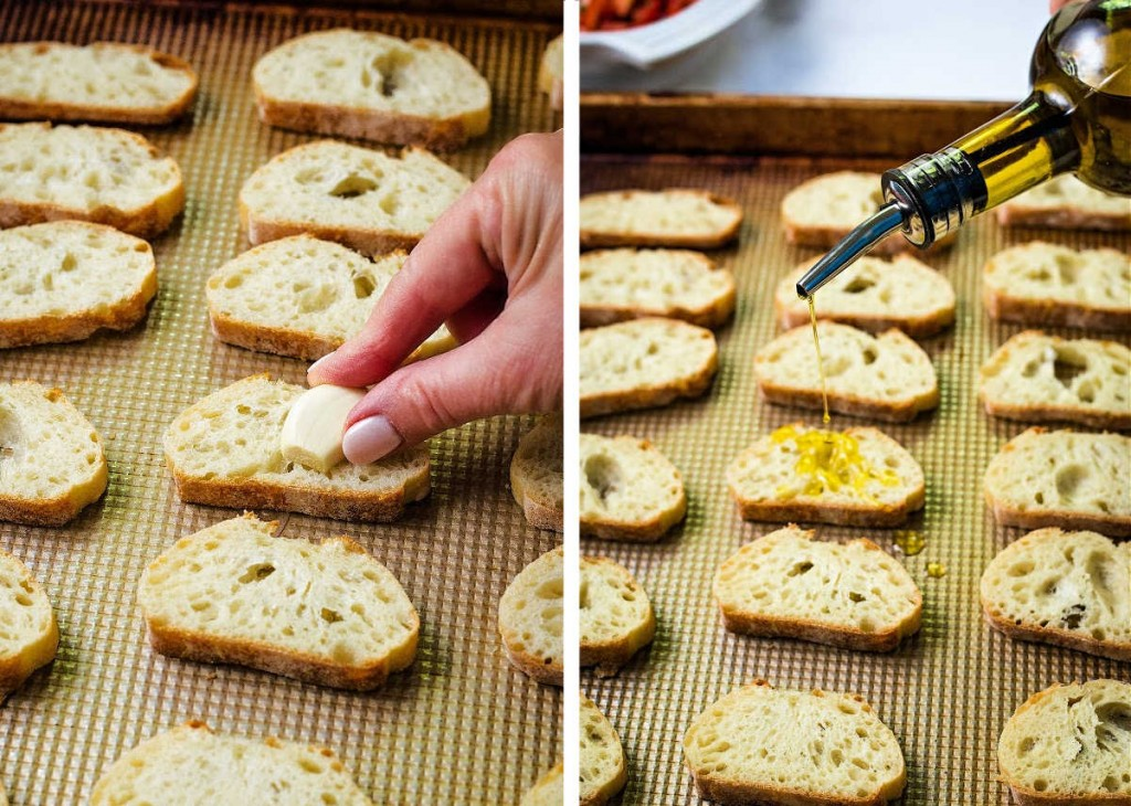 preparing slices of baguette to toast for bruschetta: 1) rub with garlic clove 2) drizzle with olive oil.