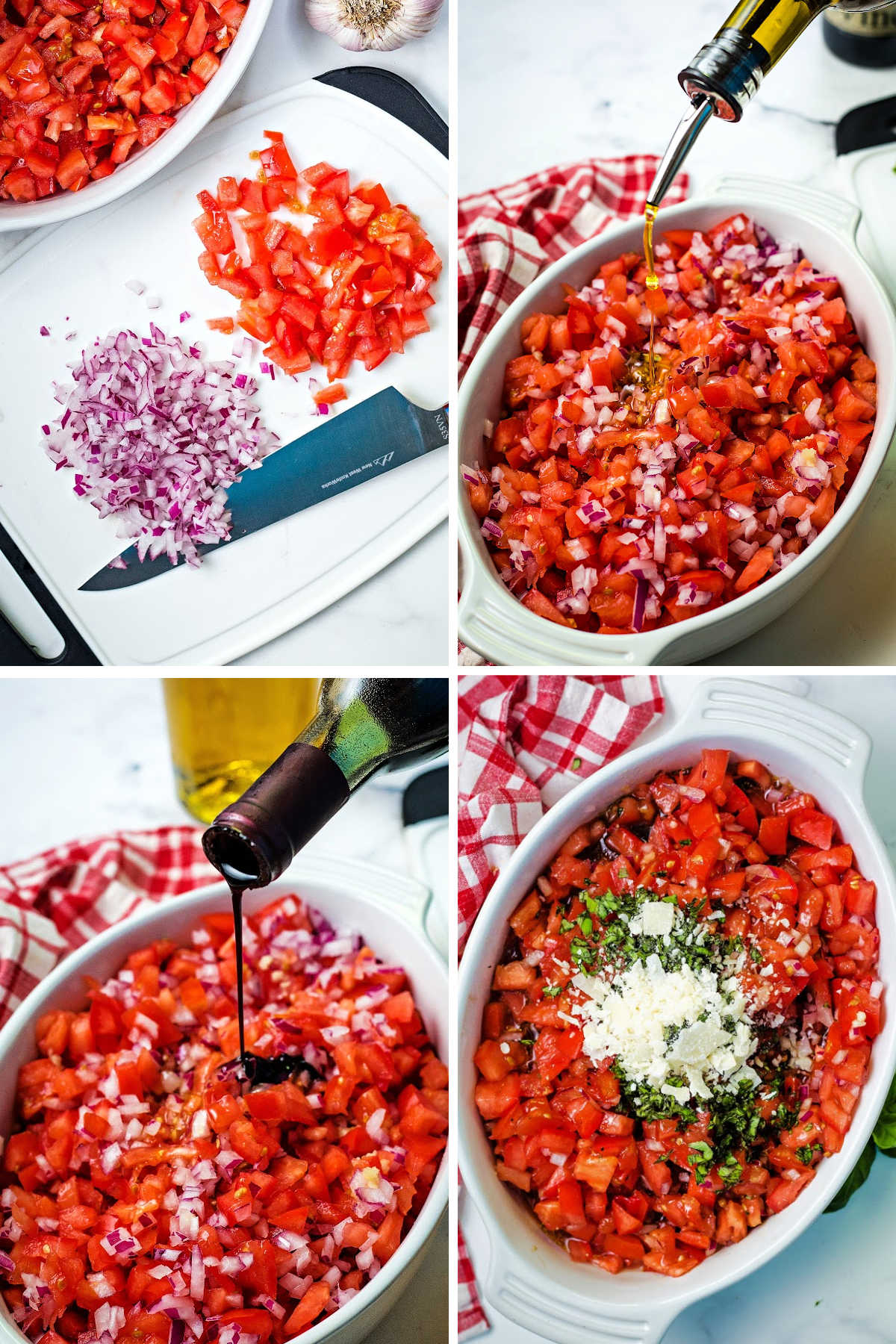 process steps for making bruschetta: dice tomatoes and red onions; add olive oil; add balsamic vinegar; add basil and parmesan cheese.