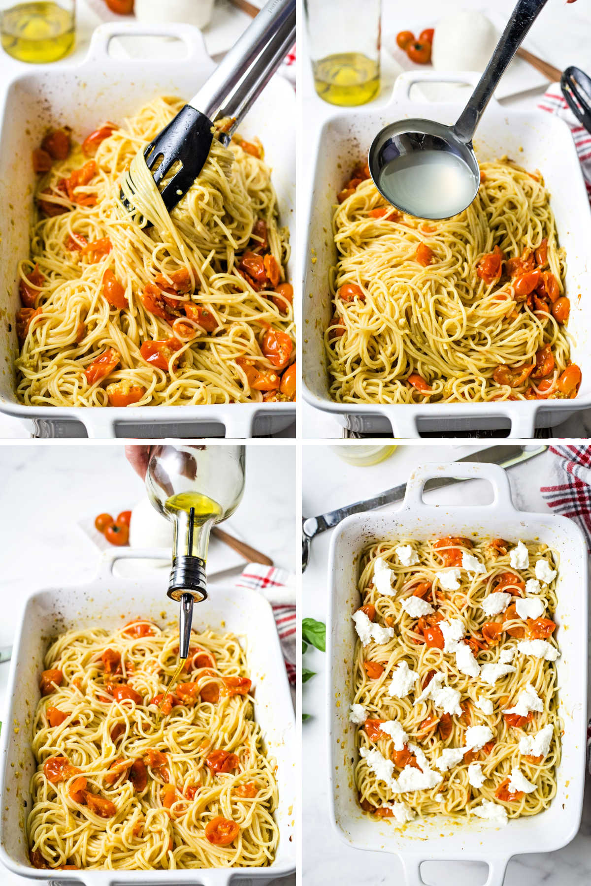 process steps for assembling cherry tomato pasta: combine noodles with roasted cherry tomatoes; add some pasta water; drizzle with more olive oil; crumble fresh mozzarella cheese on top.