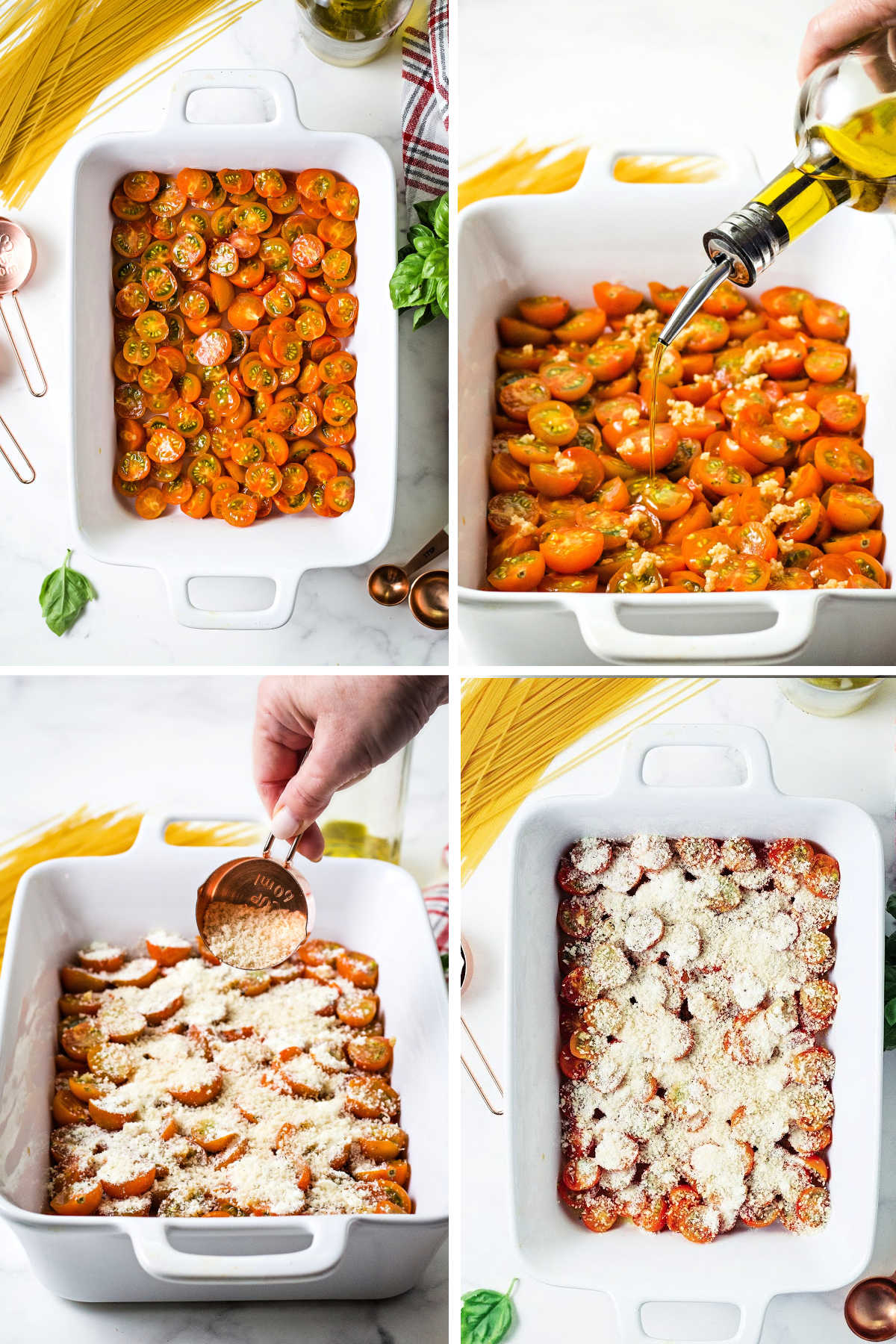 process for roasting cherry tomatoes: cut in half and place in baking dish; drizzle with olive oil; sprinkle with parmesan cheese and panko bread crumbs.