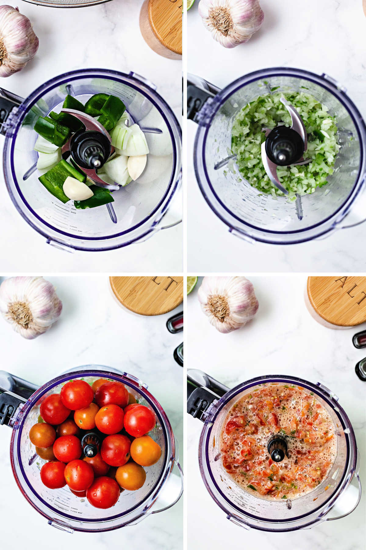 process steps for chopping vegetables for salsa: add onion, garlic, and jalapeno to food processor; chop fine; add cherry tomatoes; pulse until chopped and blended.