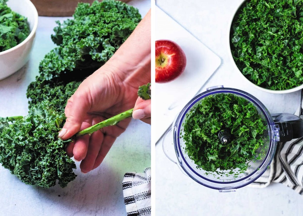 preparing kale for harvest chicken salad: stripping from the stems; chopping in a food processor.