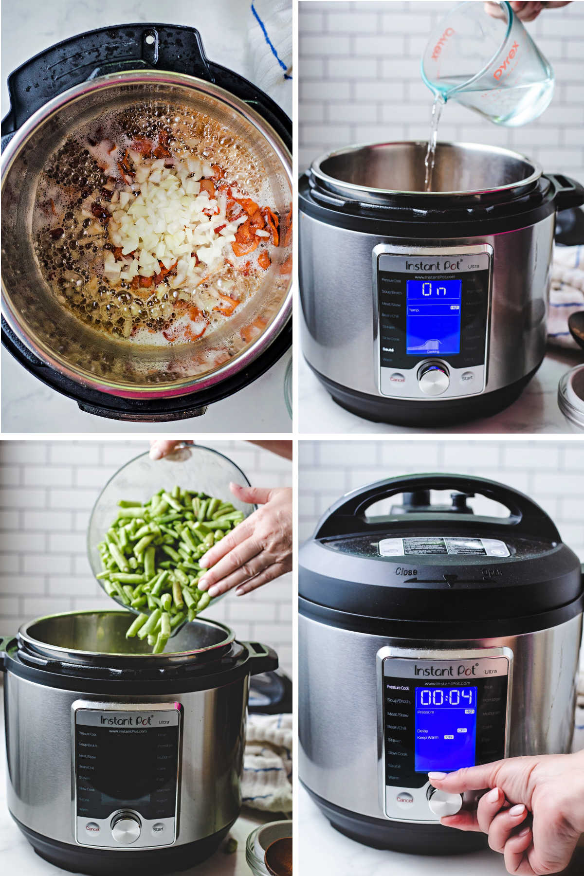 process steps for cooking instant pot green beans: saute bacon and onions; add water; add green beans; lock lid and set cook time.