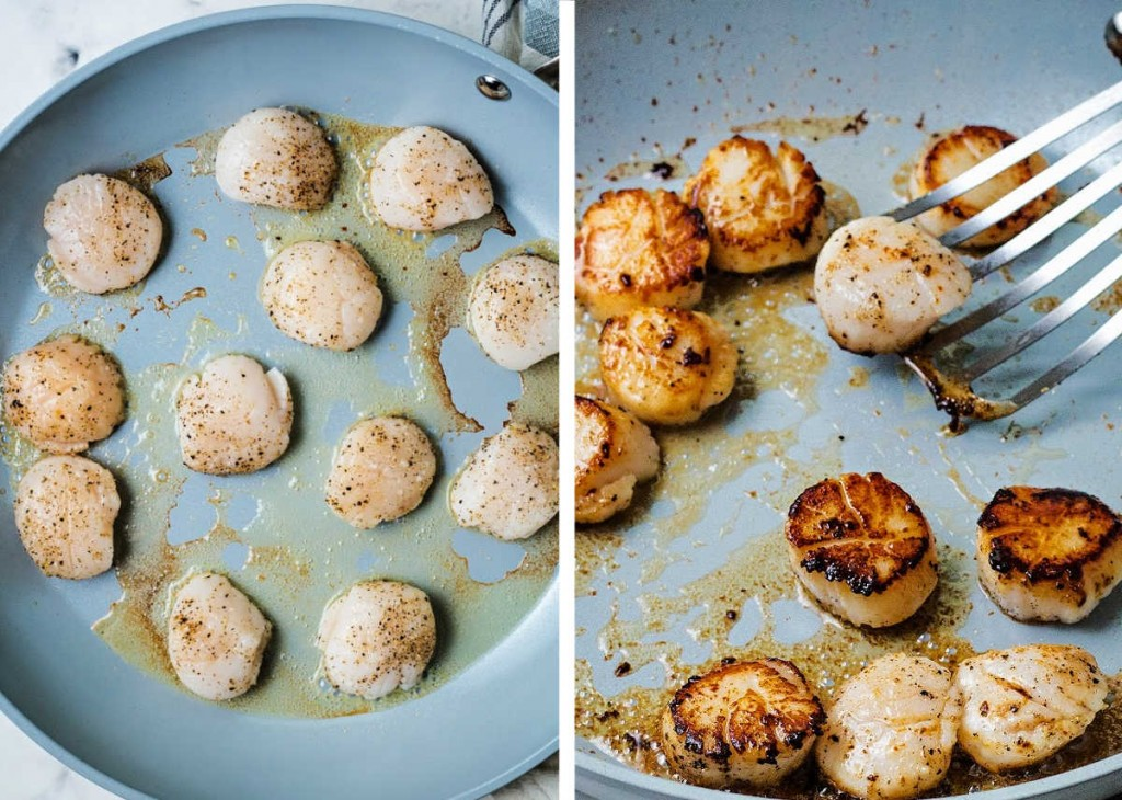 searing scallops in a frying pan and flipping them with a fish turner.