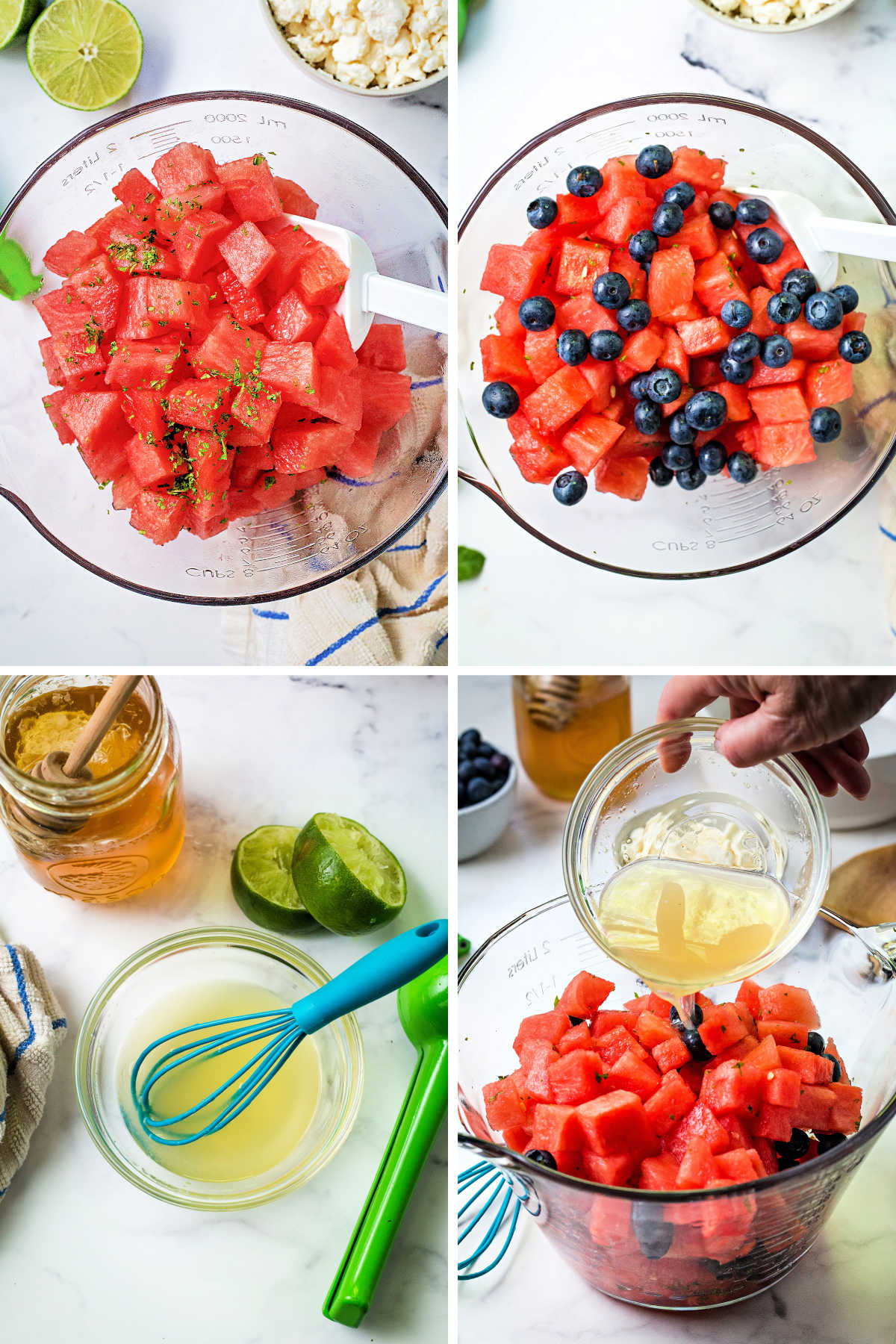 process steps for making watermelon feta salad: cube watermelon and toss with chopped mint; add blueberries to bowl; whisk together lime juice and honey; pour mixture over fruit in bowl.