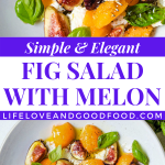 a bowl with fig salad and a gold fork on a linen napkin on a table.