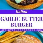 Italian Garlic Butter Burger with mozzarella cheese on a blue plate.