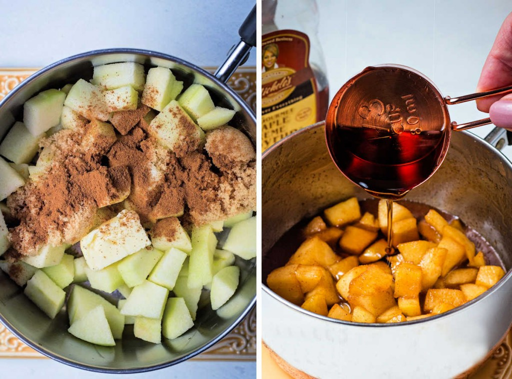 process steps for making apple compote: diced apples with butter, cinnamon, and brown sugar in a saucepan; pouring maple syrup into cooked apples.
