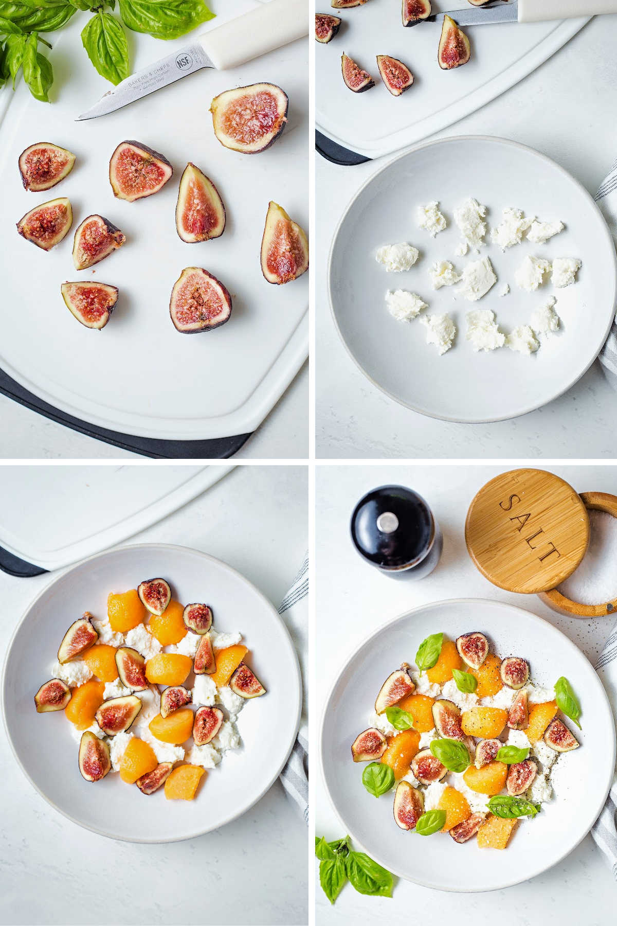process steps for preparing fig salad: cut figs into quarters; crumble fresh mozzarella into a bowl; add cantaloupe and figs; add basil leaves, salt, and pepper.