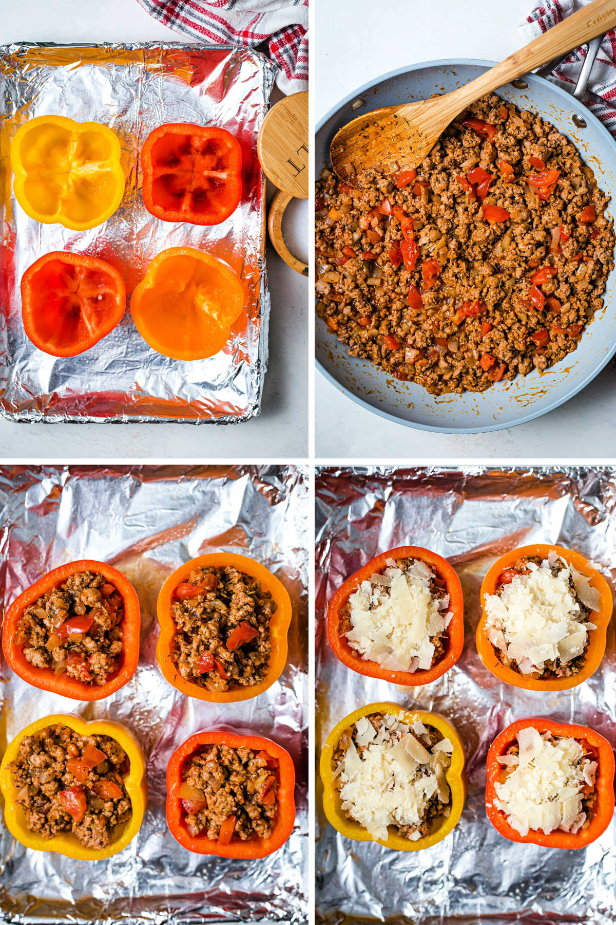 process steps for preparing saucy turkey stuffed peppers: pre-bake peppers; season cooked ground turkey; fill peppers with turkey mixture; top with shaved parmesan cheese.