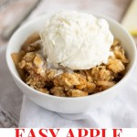 EASY APPLE CRISP IN A WHITE BOWL WITH A SCOOP OF VANILLA ICE CREAM ON A TABLE.