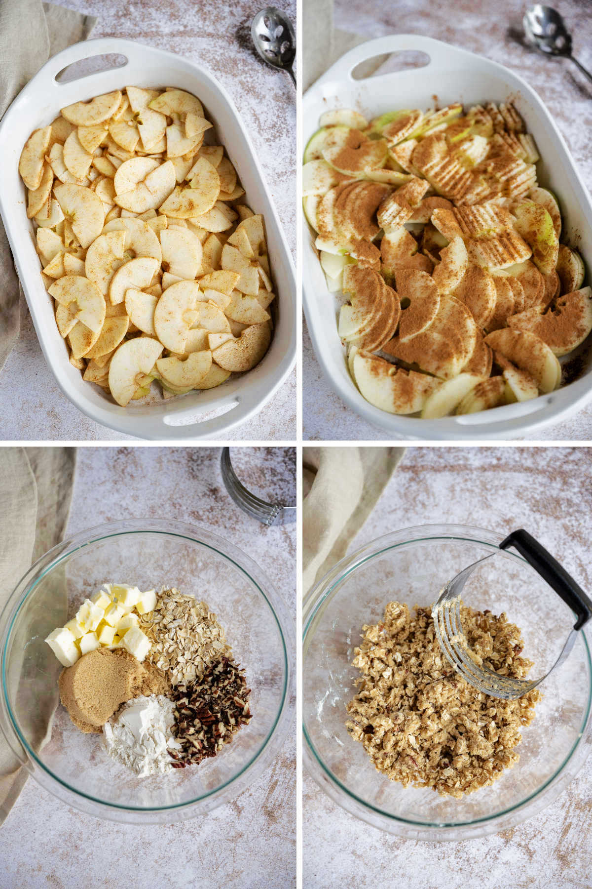 steps for preparing apple crisp: sliced apples in baking dish; sprinkle with sugar and cinnamon; combine ingredients for crumble topping.