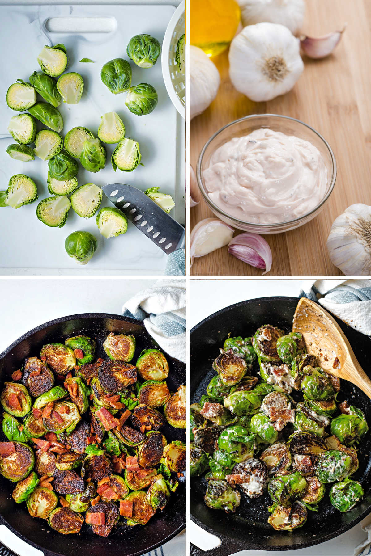 process steps for making caramelized brussels sprouts: slice brussels sprouts in half; make aioli; add crumbled bacon to skillet with brussels sprouts; stir in aioli.