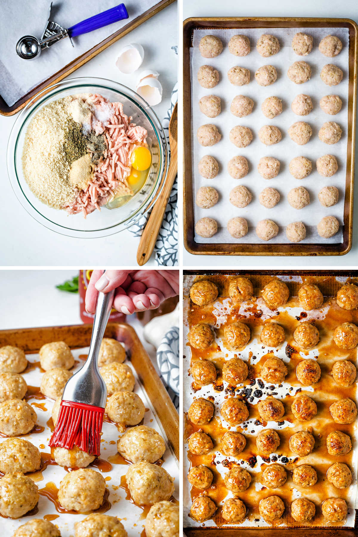 process steps for making chicken meatballs: combine ingredients; roll into balls and place on baking sheet; baste with glaze; baked meatballs on baking sheet..
