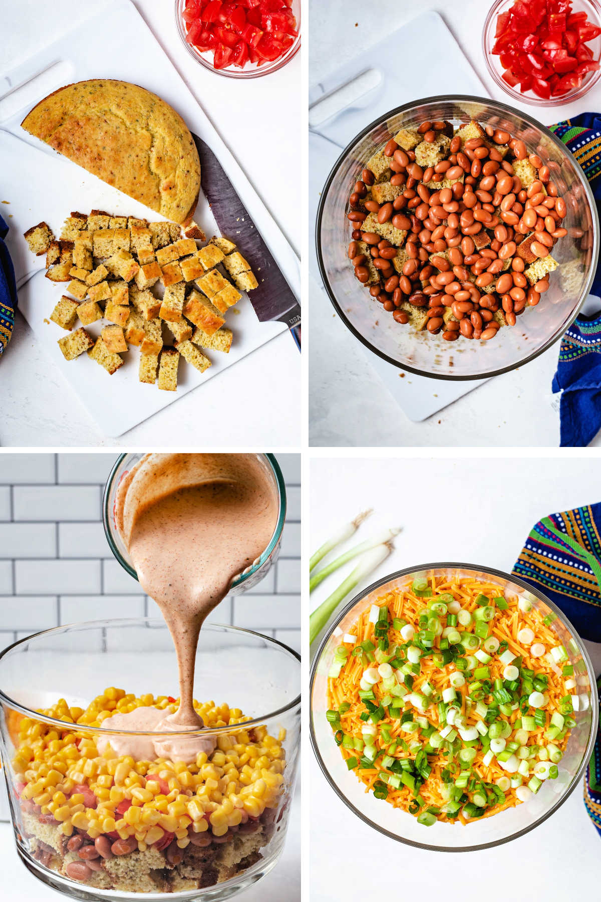 process steps for assembling cornbread salad: cube or crumble prepared cornbread; layer cornbread and pinto beans in dish; add tomatoes, corn, and ranch dressing; top with cheddar cheese and sliced green onions.