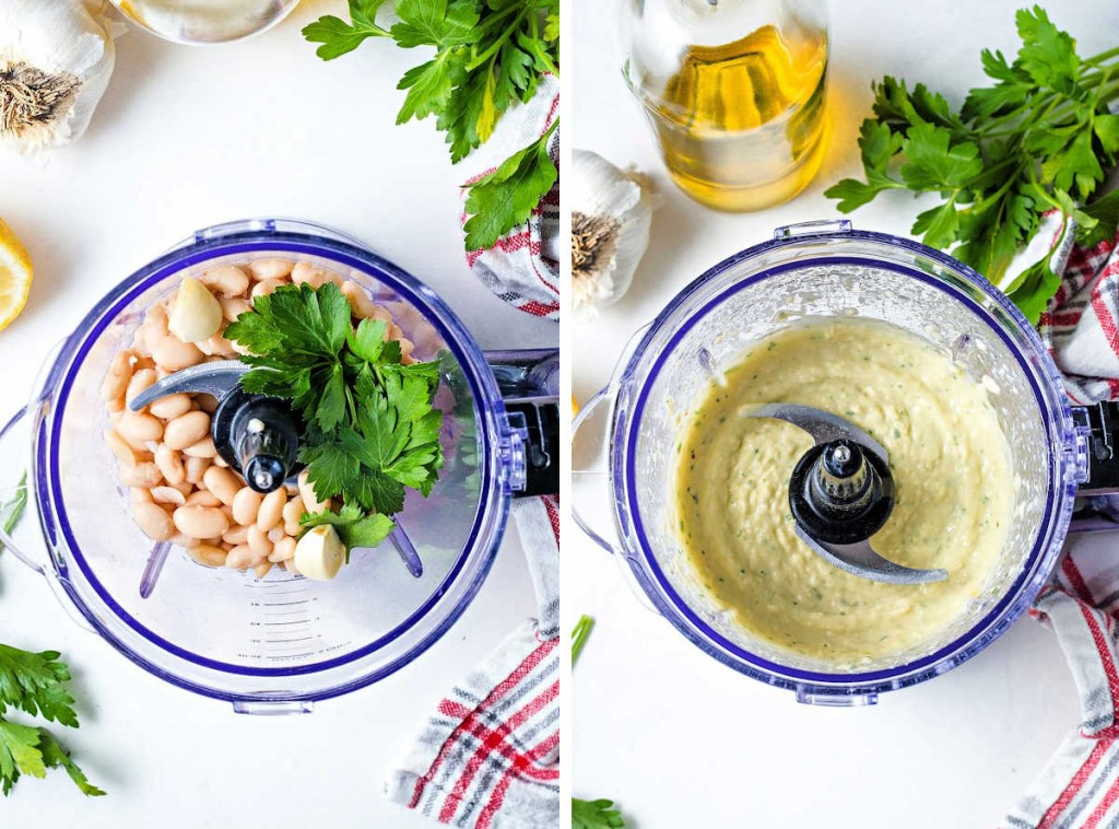 process steps for making white bean hummus: put ingredients in food processor; process until smooth.