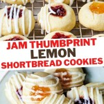 Jam Thumbprint Lemon Shortbread Cookies on a white plate on a table with raspberry jam