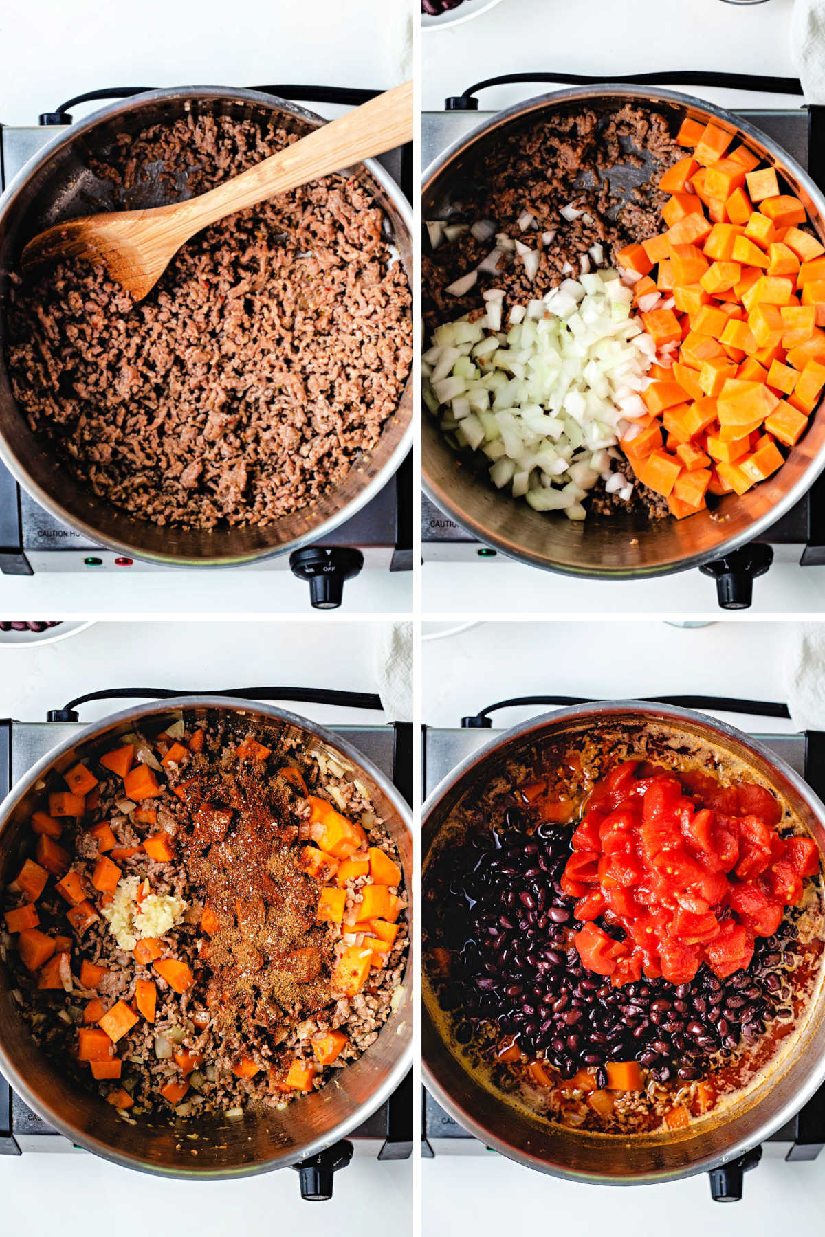 process steps for making black bean sweet potato chili: brown Italian sausage in a Dutch oven; add onions and diced sweet potatoes; stir in garlic and spices; add black beans and canned tomatoes.