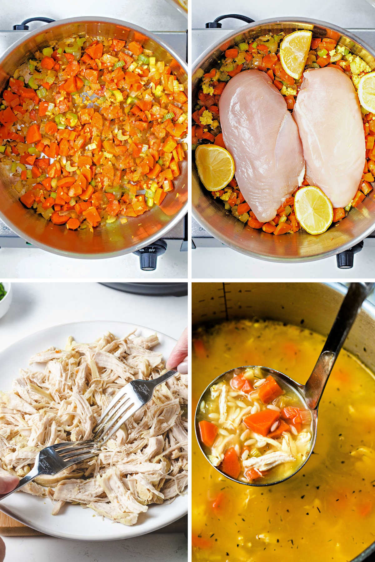 process steps for making lemon chicken orzo soup: saute carrots, celery, and onion; add chicken breasts and lemon to the pot; shred chicken with 2 forks; cook orzo in broth.